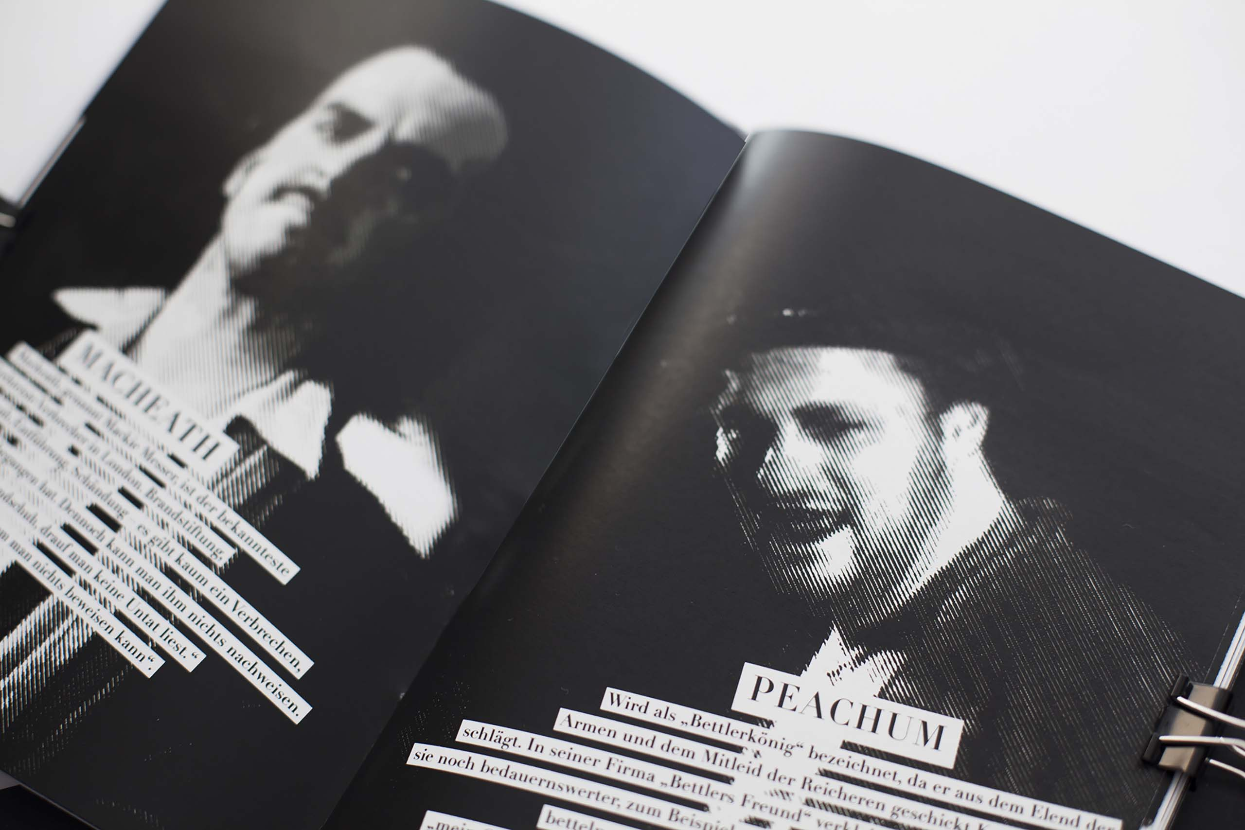 detail of black and white magazine with fotos