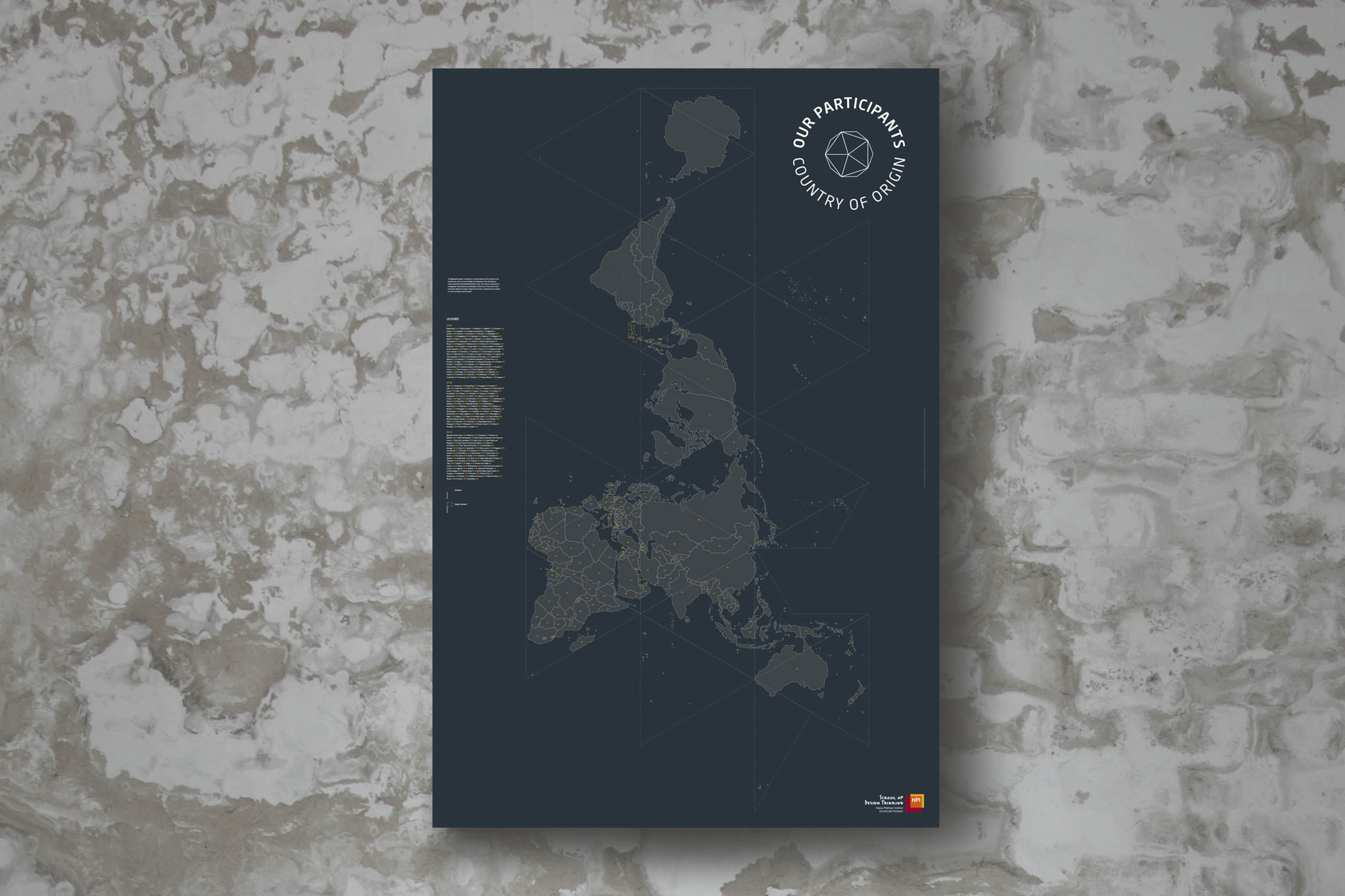 blue map infographic on white grey wall