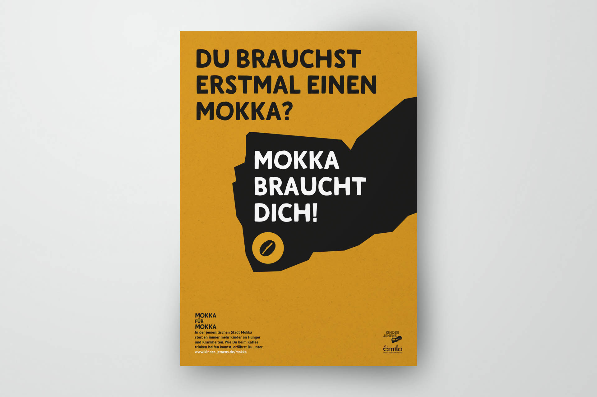 orange poster with black text on grey background