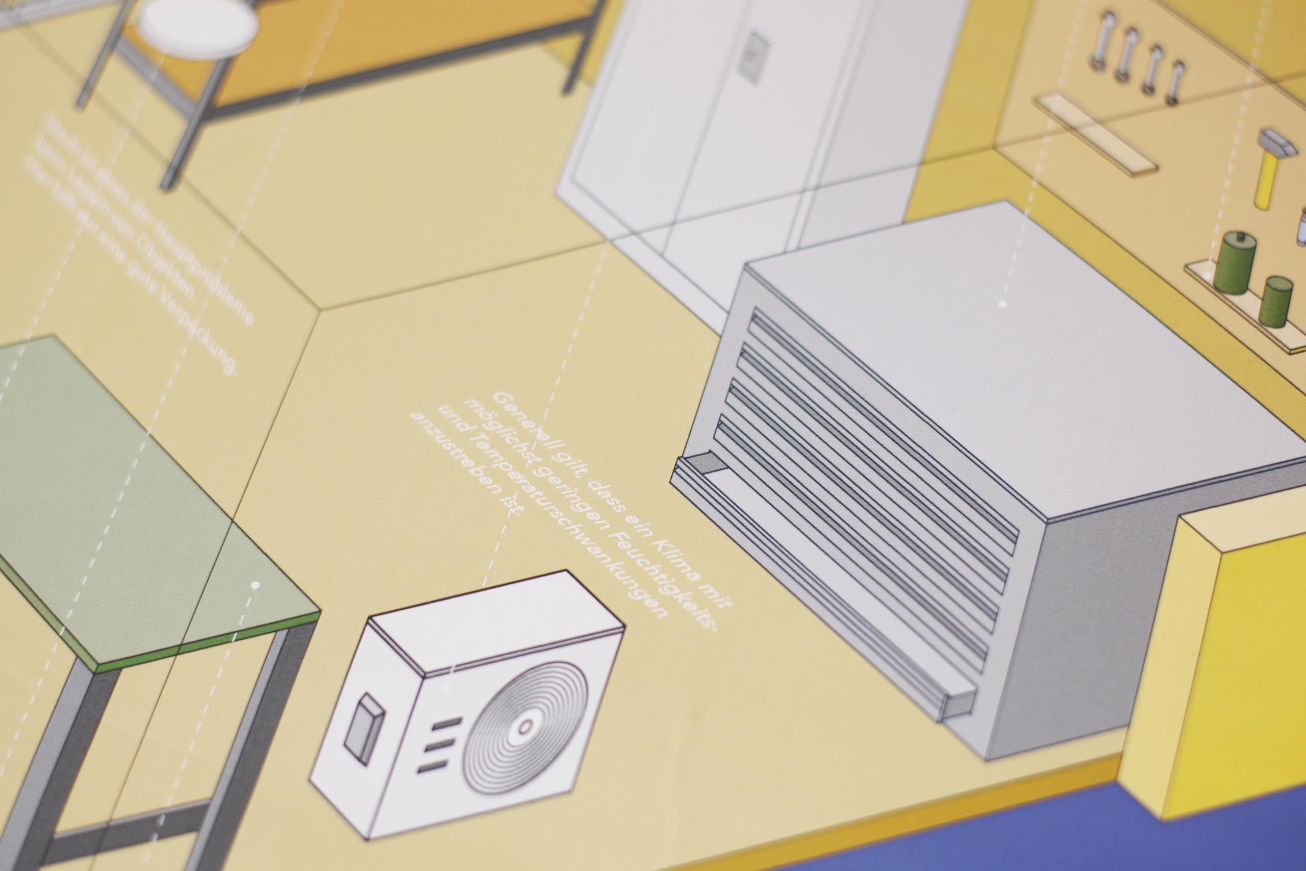 blue yellow information graphic kunst bewahren on blue background detail