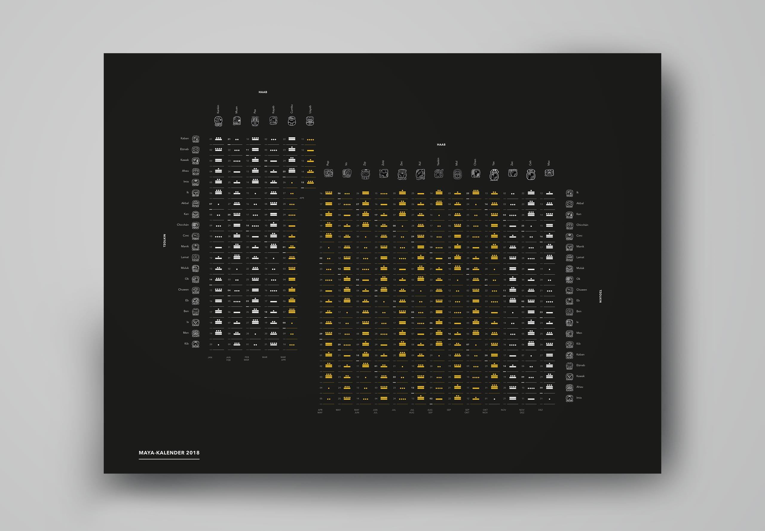 black gold calender on grey background