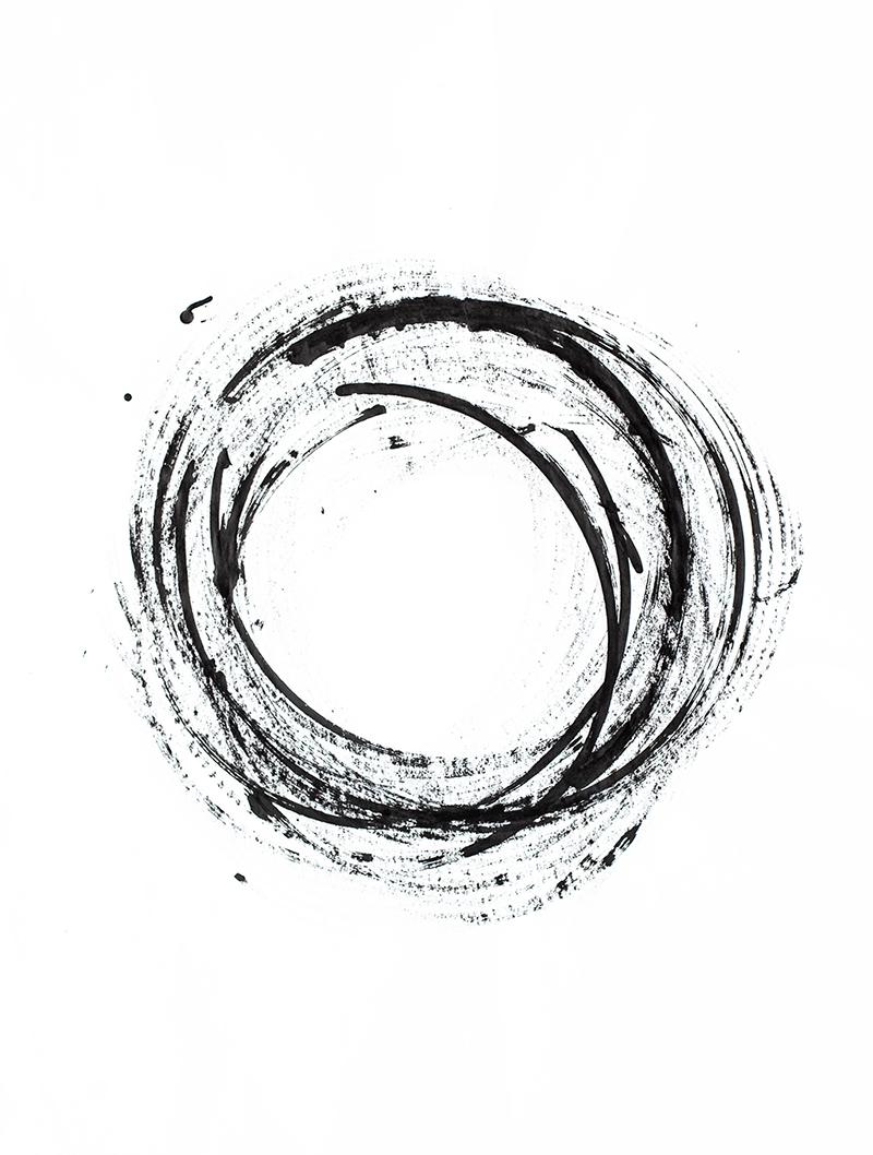 black circle on white background