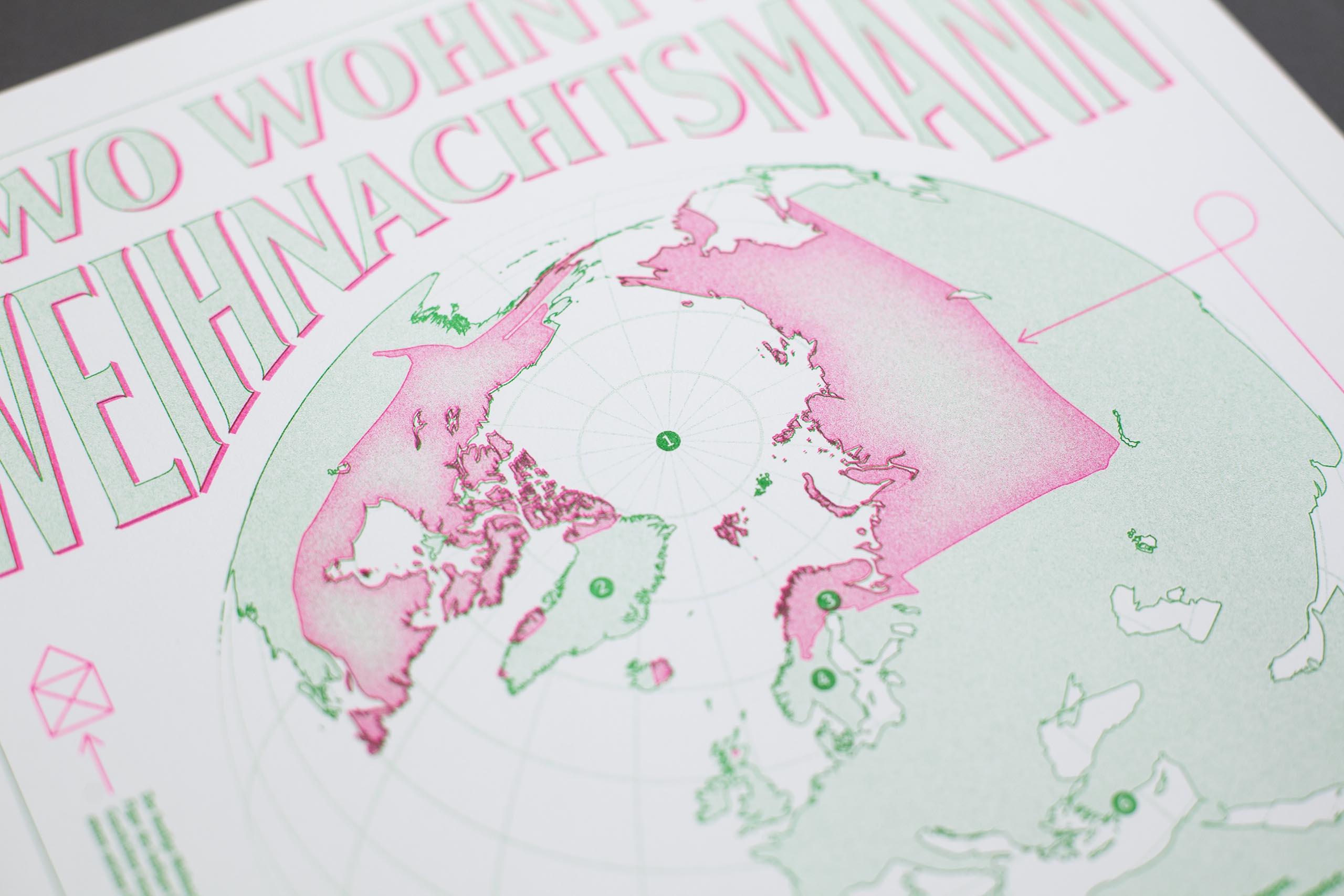 Riso print green magenta globe detail