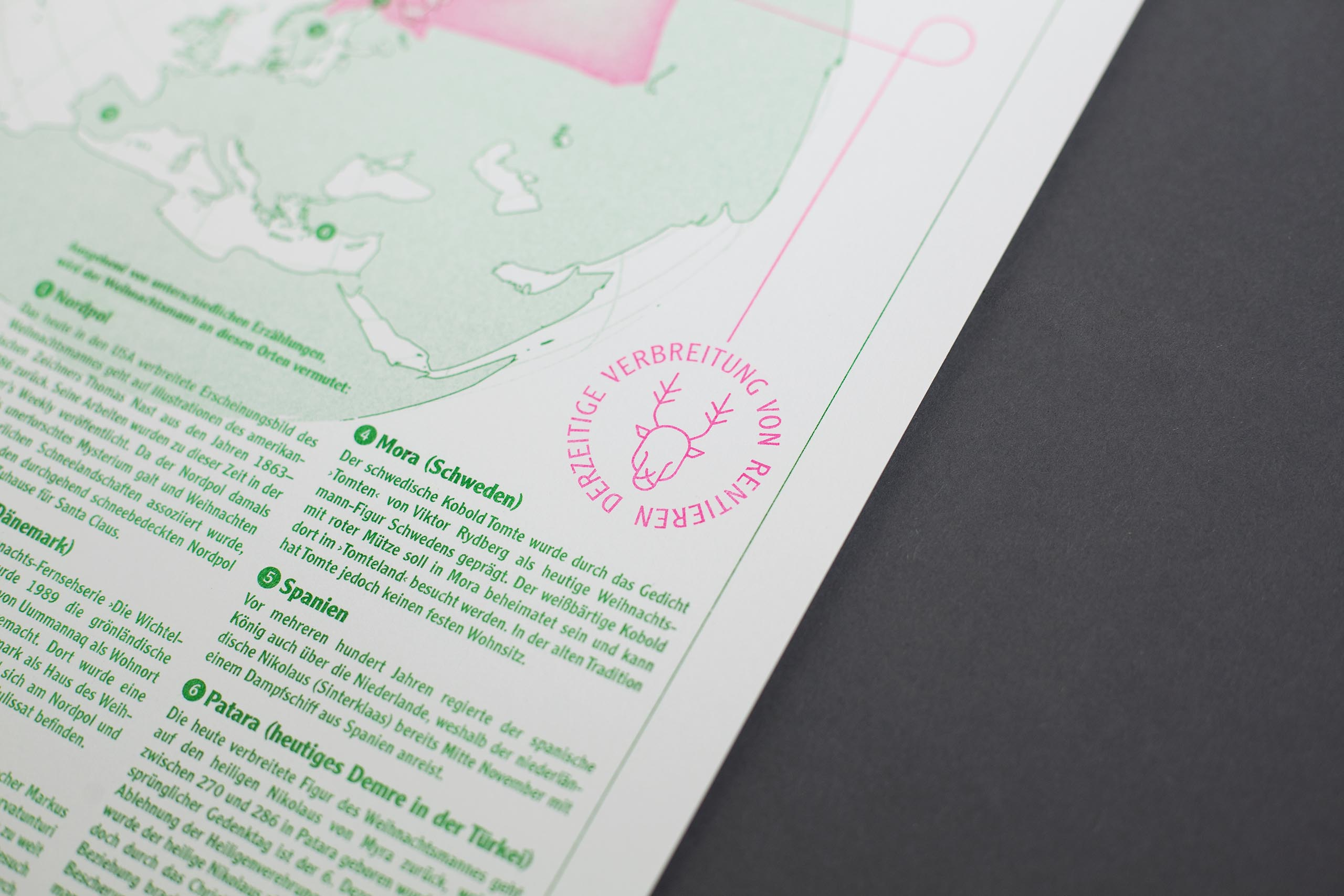 Riso print green magenta rentier detail